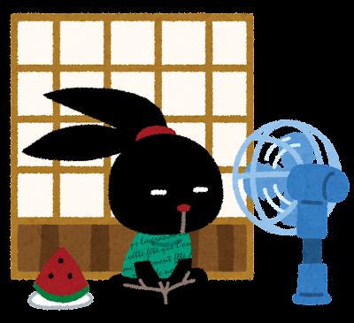 扇風機の前の ぴょこ のイラスト