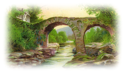 clip art painting of brick old weir bridge across the river