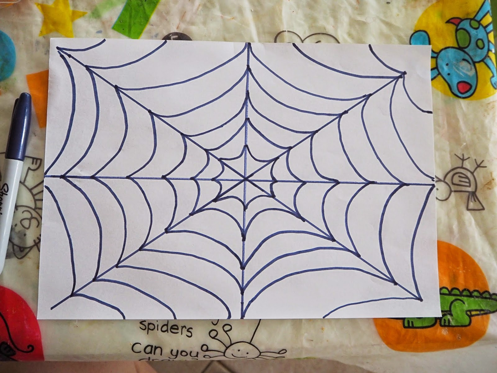 Curved Lines In Art : Learn with play at home spider web art for kids