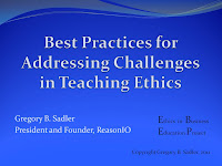 ethics business teaching eduction assessment best practices AACSB philosophy partnership