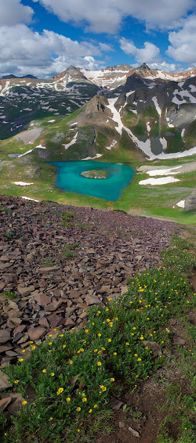 Island Lake in the Ice Lakes Basin near Silverton Colorado Vertical Panorama with Vermillion Peak and Wildflowers