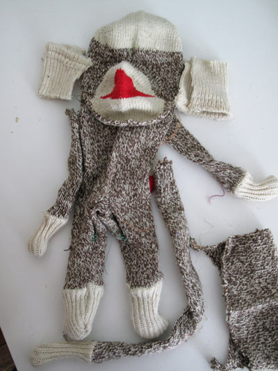 sock monkey red heel