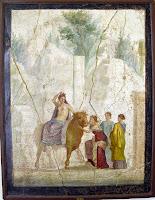 Fresco de Europa y el toro. Pompeya - siglo I a. C.  Fresco. Museo Archeologico Nacional de Nápoles