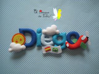 nombre-letrero-decorativo-fieltro-Diego-elboquedelulu-hechoamanoparati-regalo-nacimiento-personalizado-decoración-infantil