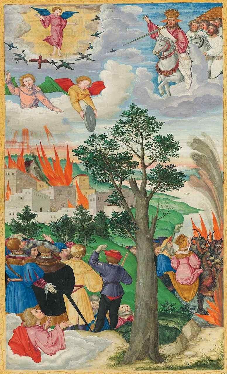 Segunda vinda de Cristo em pompa e majestade. Ottheinrich-Bibel, Bayerische Staatsbibliothek.