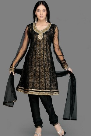 Beautiful-Black-Churidar-Salwar-Kameez