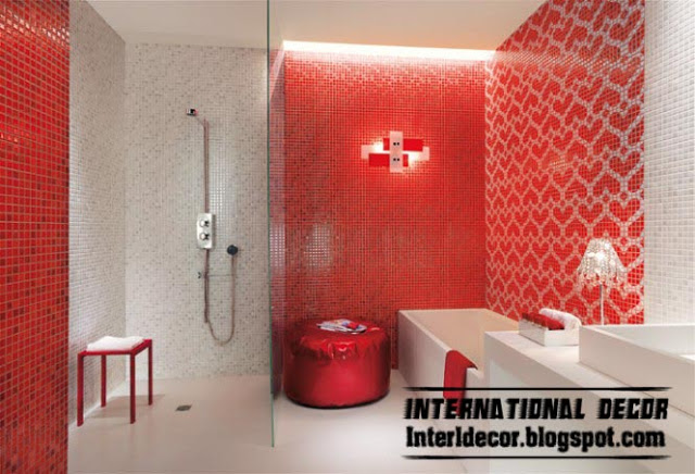 red wall tile designs ideas for bathroom
