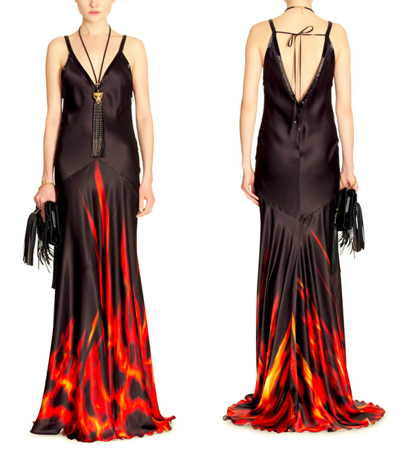 print dress, long silk dress, silk dress, black red dress, dress with flames, flame pattern, roberto cavalli dress, winter dress, autumn dress
