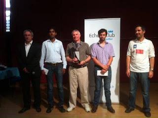 Le podium du Master de Montpellier avec Glenn Flear, Philippe Brochet et M.S. Thejkumar entouré par Hervé Louche et Olivier Lafarge - Photo © Chess & Strategy