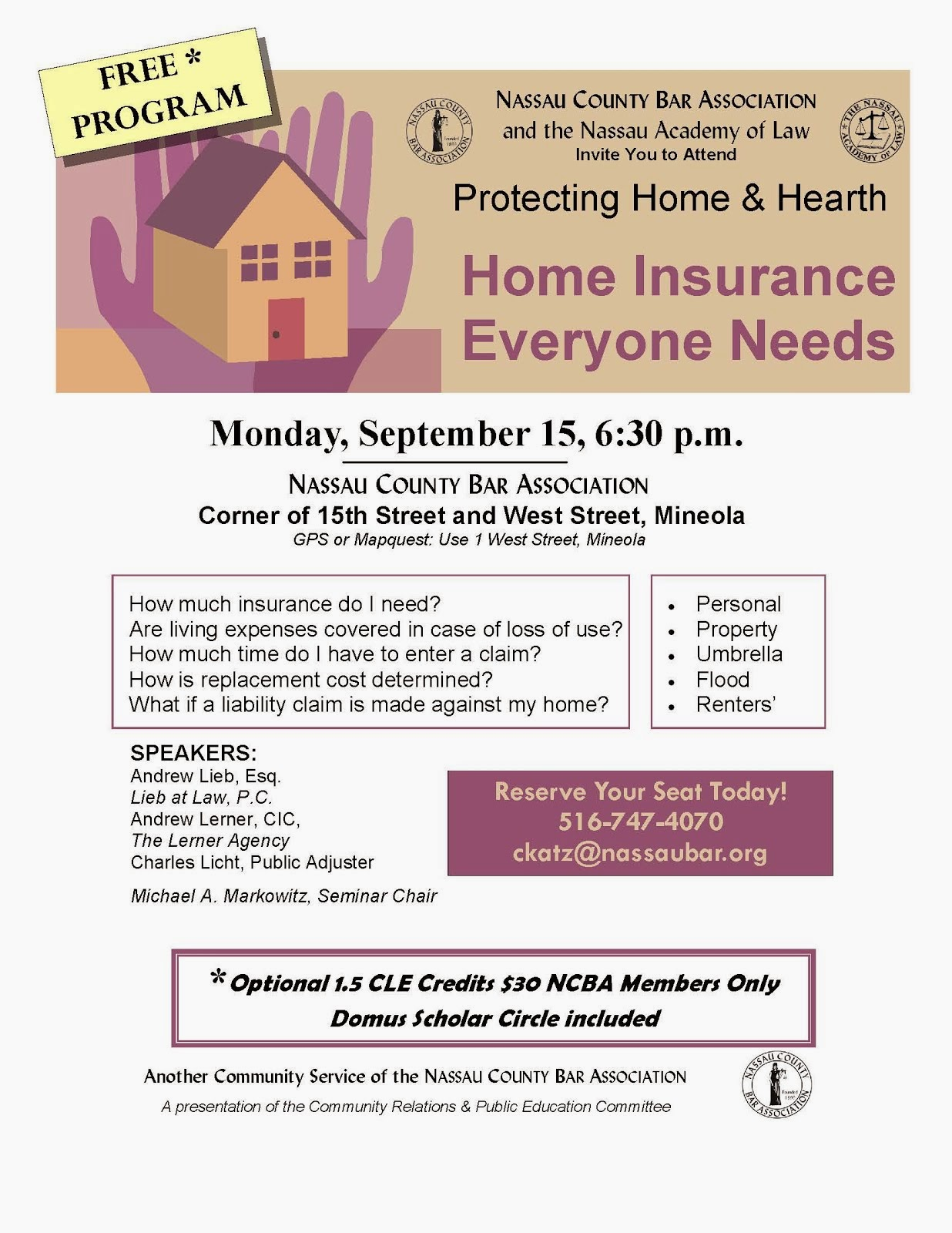Free Seminar on Homeowners' Insurance 9/15/14