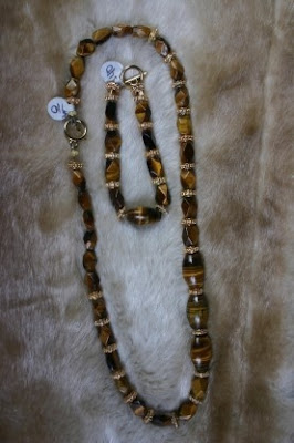 Brown Tigeye Bracelet and Necklace set for Men.