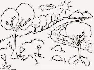 Belajar Mewarnai Pemandangan Alam Sketsa