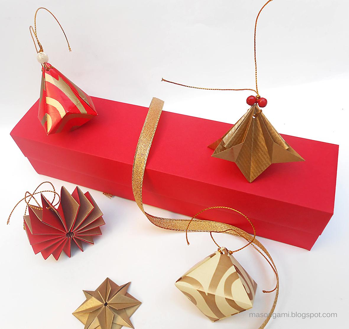 Mas origami caja con adornos navide os for Adornos navidenos origami paso a paso