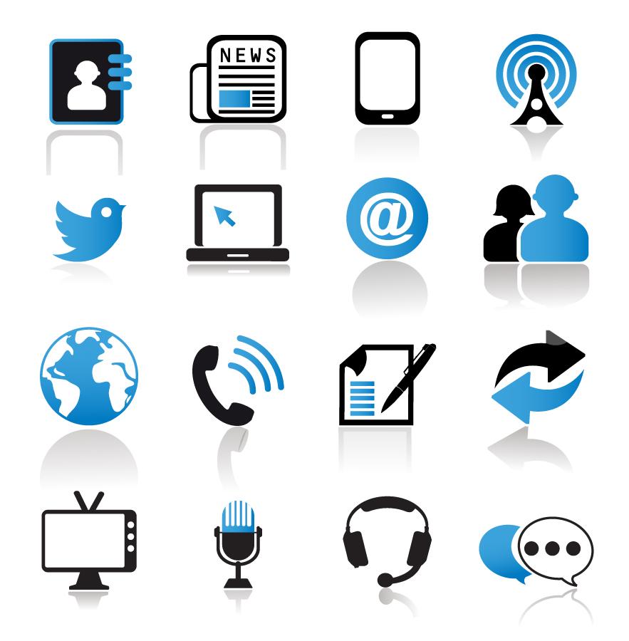 通信メディア関連のアイコン Communication and Media Icons イラスト素材