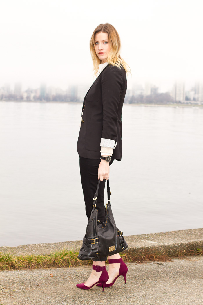 Vancouver Fashion Blogger, Alison Hutchinson, wearing Aritzia Blazer, H&M cropped striped sweater, Zara silk cream button-up blouse, 7 for all Mankind black jeans, Zara burgundy ankle-strap shoes, Stella&Dot, J Crew and True Worth Design Bracelets