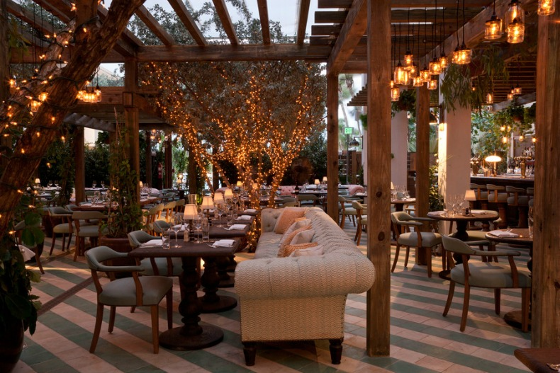 Soho Beach House garden style dining