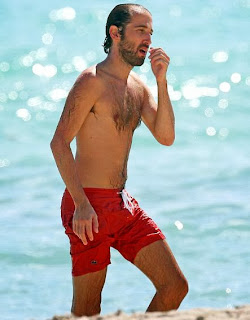 Thomas Bangalter red short shorts Miami beach