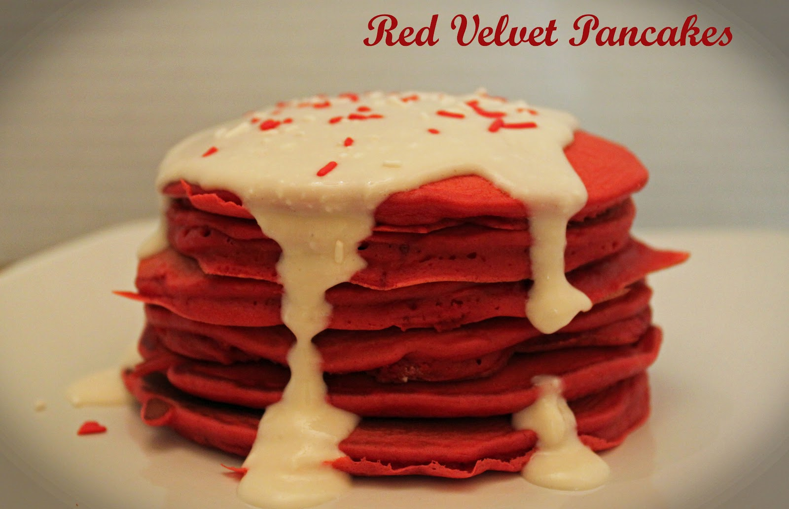 Girls in Aprons: Red Velvet Pancakes with Cream Cheese Frosting Syrup