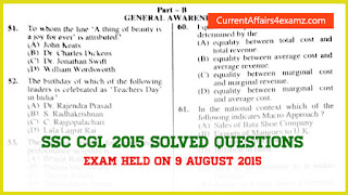 GK Solved SSC CGL 2015