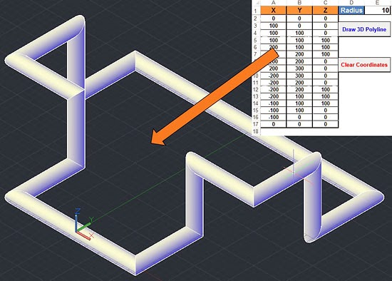 Draw A 3D Polyline (Pipe-Like) In AutoCAD Using Excel & VBA