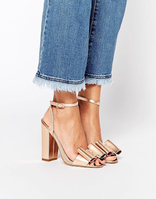 Asos Metallic bow heels