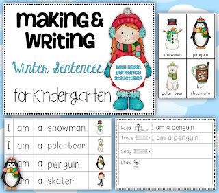 Making and Writing Winter Sentences for Kindergarten