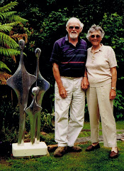 Eddie and Gypsy with Eddie's sculpture