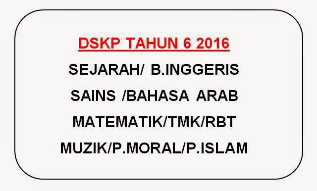 Dskp Mata Pelajaran Tahun 6 2016