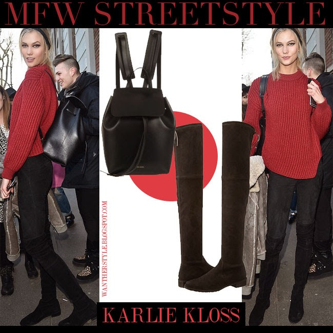 Karlie Kloss in red knit sweater, black suede Stuart Weitzman Lowland boots and black leather backpack Mansur Gavriel Milan Fashion Week 2015 streetstyle