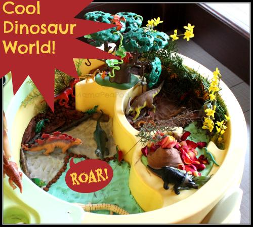 cool dinosaur small world play table