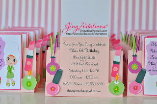 spa birthday invitations