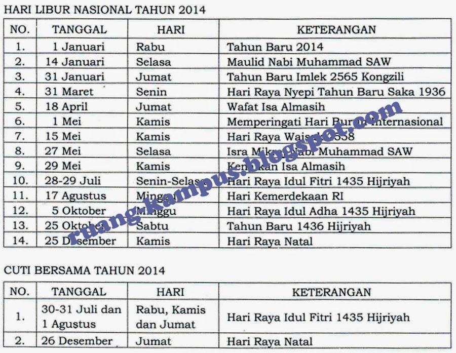 libur nasional dan cuti bersama 2014 kecuali siap untuk menerima