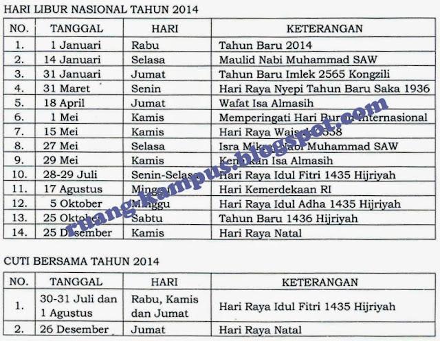 Tabel Keputusan Libur Nasional dan Cuti Bersama 2014