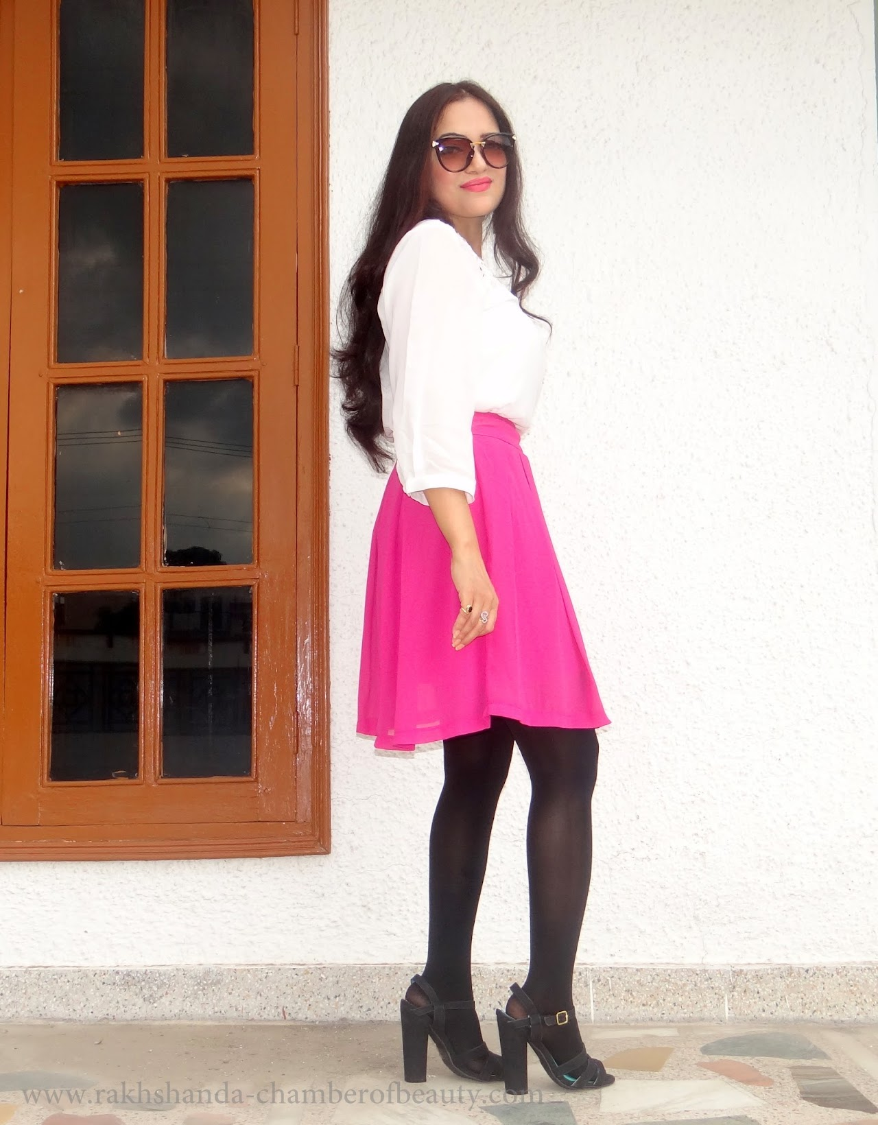 Walktrendy White top & pleated pink skirt-OOTD | Fashion trends 2015, Lucluc cat eye sunglasses, how to style a skater skirt, summer fashion, OOTD, Indian fashion blogger, Chamber of Beauty