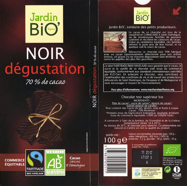 tablette de chocolat noir dégustation jardin bio noir dégustation 70