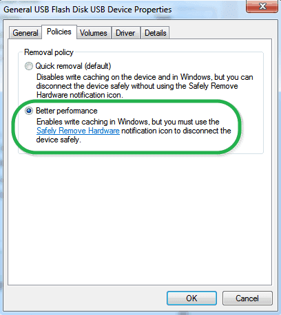 Better Performace Policy for Flash Drives in Windows
