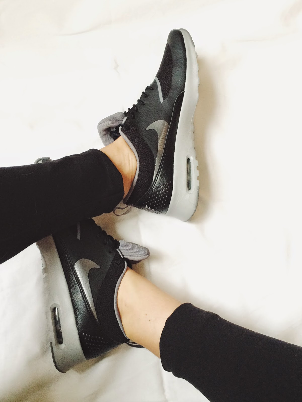 nike trainers, nike air max thea trainers, black and grey air max thea trainers