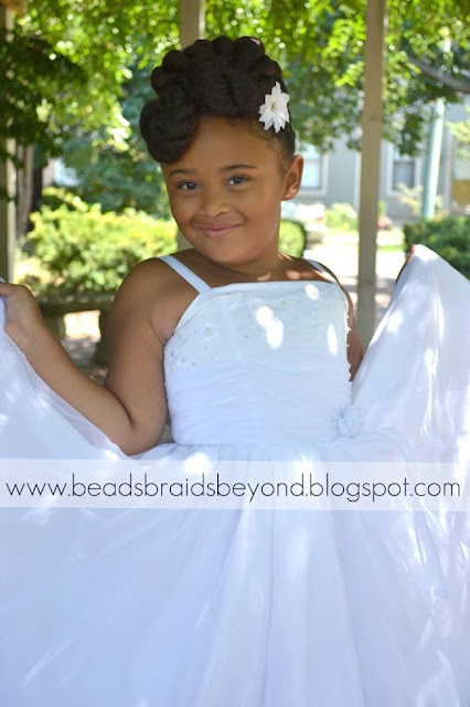 black girl long hairstyles : ... Braids and Beyond: Natural Flower Girl Updo with Cornrows and Twists