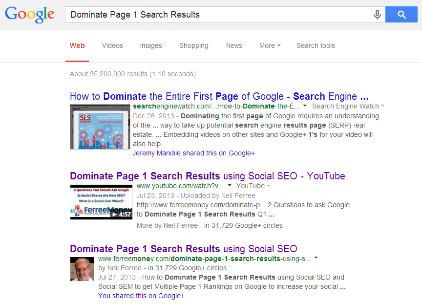 dominate page 1 search results