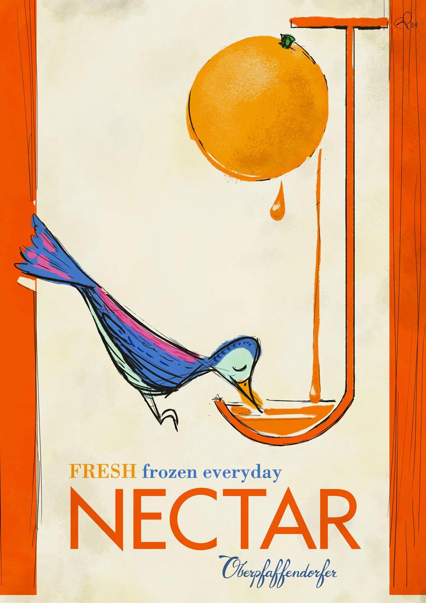 Curio and Co. Curio & Co. www.curioanco.com - Oberpfaffendorfer poster series - Cesare Asaro - OJ Nectar - Orange Juice