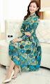 High Ruffle Neck Long Sleeve Blue Floral Chiffon Dress