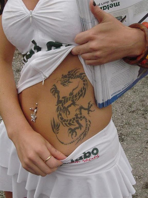 Stomach Dragon Tattoo For Women