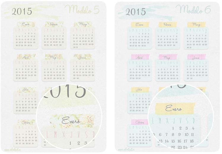 Calendario 2015 imprimible seis modelos