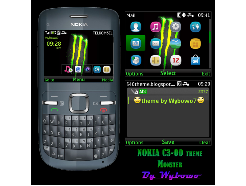 Mobile Phones: NOKIA C3 & X2-01 theme Monster