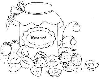 desenho pote de geleia de morango para pintar