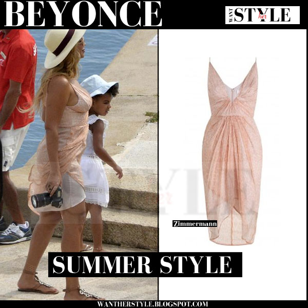 Beyonce in light pink mini dress zimmermann what she wore