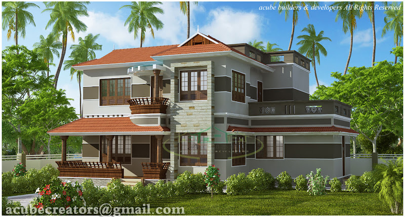 beautiful, variety Kerala style home design - 2300 sq.ft. (Plan 133) title=