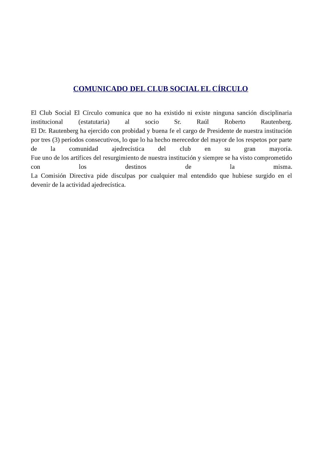 """COMUNICADO DE """"EL CÍRCULO"""""""