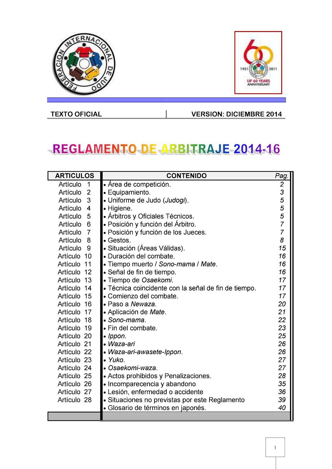 REGLAMENTO ARBITRAJE 2014-2016