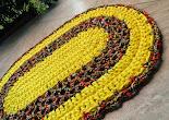 Tapete Oval Amarelo/Estampado